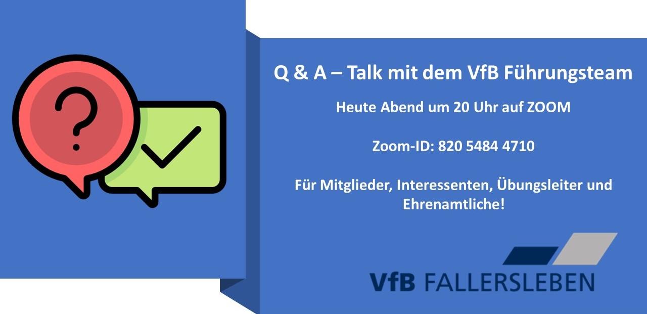 Q & A mit dem VfB Führungsteam startet heute Abend auf Zoom. Los geht es um 20 Uhr!