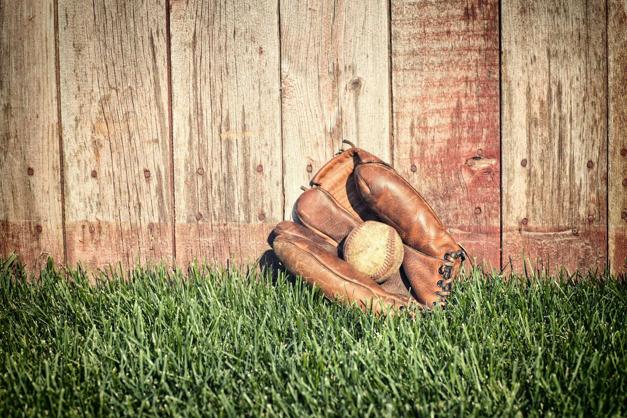 Old Baseball in a Mitt by a Fence